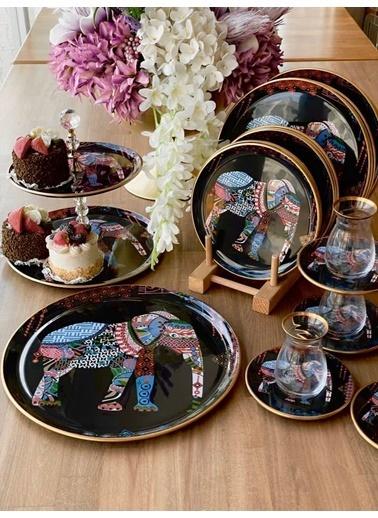 ROSSEV Elephant Siyah Çay Seti 27 Parça Renkli